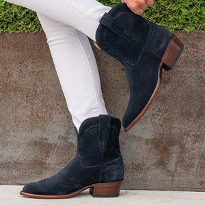 Tecovas The Lucy Navy Suede Western Bootie Boots
